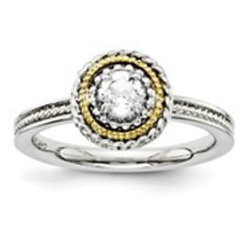 Sterling Silver & 14k Yellow Gold White Topaz Ring