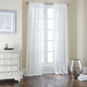 Sovereign Rod Pocket/Back Tab Window Curtain Panel in White/Silver