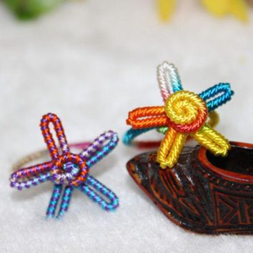 Pure Handmade Coloured Thread Ring Five Pointed Star Colorful Ring