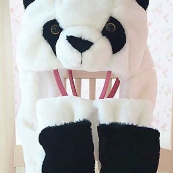 Cartoon Plush Animal Faux Fur Full Hood Kids Hat Women Children Costume Beanie with Long Scarf Mittens Gloves Earmuffs