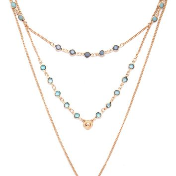 Faux Gem Chain Necklace Set