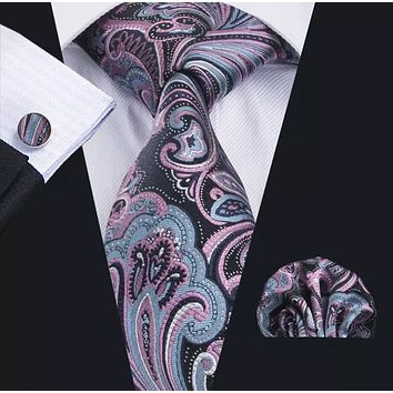 Men's Silk Coordinated Tie Set - Black Blue Pink Paisley