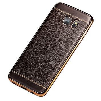 Luxury Leather Pattern Soft silicone Case For Samsung Galaxy S7 G9300 S7 Edge Ultra Thin Plating Gold Frame Phone Cover Fundas