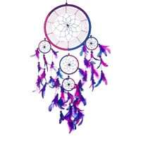 "Dream Catcher ~ Handmade Traditional Royal Blue, Pink & Purple 8.5"" Diameter 24"" Long!"