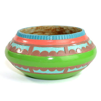 Southwestern Style Scioto Ceramics Planter, 1976 - Hand Painted, Bright & Vibrant Coral, Aqua, Green, Brown - Vintage Home Decor