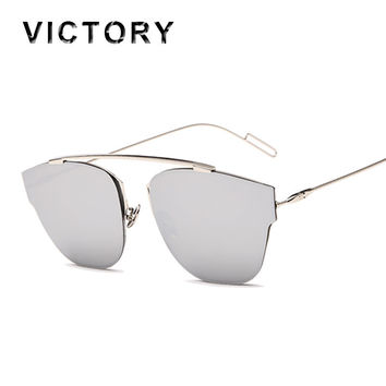 Cat Eye Mirror Sunglasses Single-Bridge Women or Lady