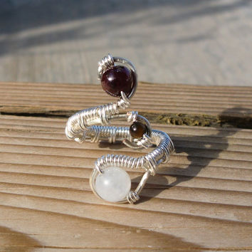 Wire Wrapped Moonstone Garnet Ring - Size 6