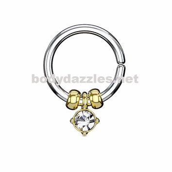 Gold Annealed Bendable Cut Ring with Removable Prong Set Crystal and Steel Beads 18ga 16ga