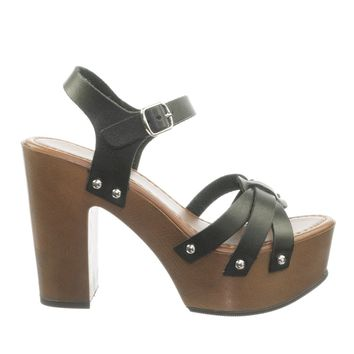 Smiling Metal Stud Sculpted Faux Wood Clog Sandal Platform Block Heel