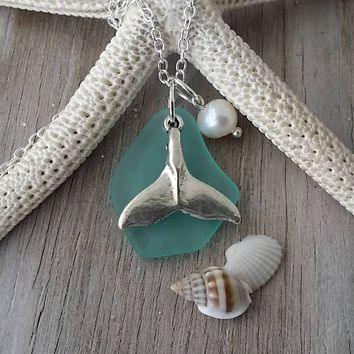 """Handmade in Hawaii, """"March Birthstone"""" Aqua sea glass necklace, whale tail charm ,Natural  pearl, 925 sterling silver chain, Hawaii jewelry"""