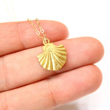 Gold Sea Shell Necklace / Shell necklace on a 14kt Gold Filled Chain / Sea Shell Jewelry