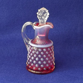 Vintage Glass Fenton Hobnail Oil Vinegar Cruet Cranberry Opalescent