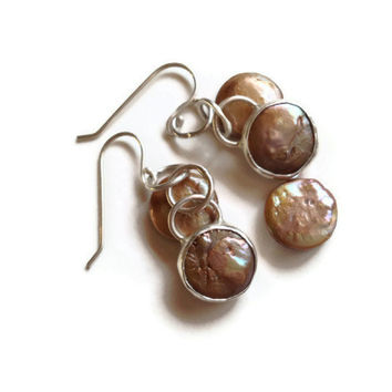 Mermaid Coin pearl and Sterling silver bezel set dangle earrings Sundance style TAGT