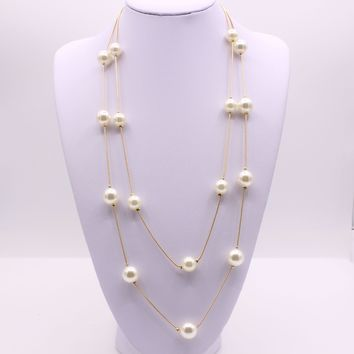 2018 New Bijoux Cute Love Long Double Layers Chain Imitation Pearl Charm Pendant Necklace for Women Jewelry Statement Gift
