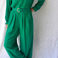 80s One Piece Jumpsuit Jumper/ Silk Pants & Blouse Jumper. Peter Pan Collar Preppy Jumper. St Patricks Day Holiday Cocktail Party Jump Suit