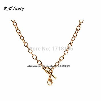 "Rose gold Chunky Rolo Chain 18"" Toggle Closure for Floating Charm Memory Locket LFH_017"