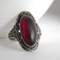 Antique Sterling Silver And Deep Red Paste Oval Ring