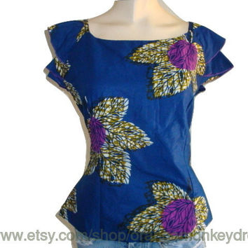 vintage batik Tribal BOHEMIAN BLUE floral flowers Hippie ruffle sleeve top women Blouse shirt MEDIUM