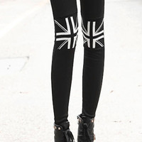Union Jack Pattern Knee Leggings