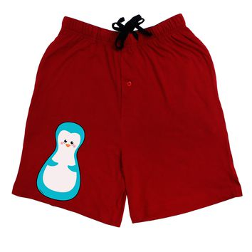 Cute Penguin Matryoshka Nesting Doll - Christmas Adult Lounge Shorts - Red or Black