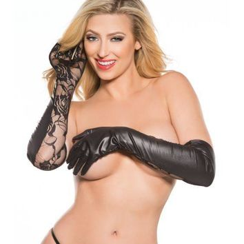 Allure Lingerie AL-G-5002K Lace & Wet Look Gloves Faux Leather, Opera length