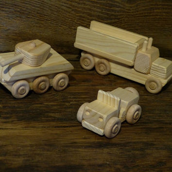 Wooden Toys Play Set Army Military WW2 Tank Truck Jeep Handmade Wood Toy Eco friendly Hand Crafted Natural Boys Childs Kids
