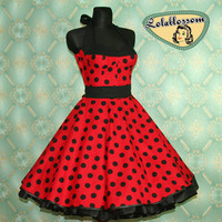 50's vintage dress full skirt Polka Dots red black Hot Pin Up cut Tailor Made