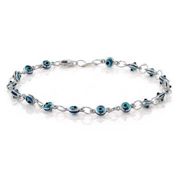 """7"""" Blue Evil Eye 925 Sterling Silver Bracelet with Lobster Claw Clasp 4mm White"""