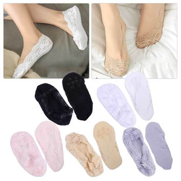 5 Pairs Women Sock Cotton Blend Antiskid Invisible Silicone Non slip Low Cut Woman Socks Stealth Ice Silk Lace Boat Socks