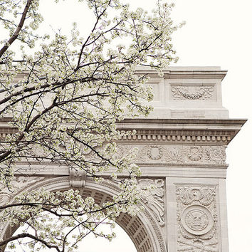Washington Square, New York Photography, NYC Print, Spring Decor, NYC Blossoms, Architecture, Fine Art Photography, White Wall Art