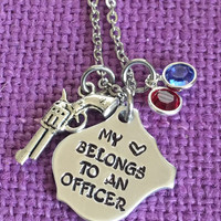 Police Wife Necklace - My Heart Belongs To An Officer - Gift for Police Wife - Personalized jewelry - Custom Necklace - Hand Stamped