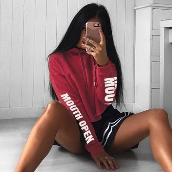 Fashion Print Long Sleeve Pullover Hooded Show Thin Tops Sweater Sweatshirts