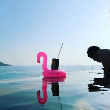Mini Inflatable Flamingo Unicorn Donut Pool Float Toys Drink Float Cup Holder Swimming Ring Party Toys Beach Kids Adults