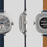Shinola 'The Gomelsky' Blue Leather Strap Watch Silver Face, 36mm