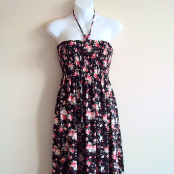 Strapless Floral Dress Spring Summer Dress Tube Dress Women's Clothing Fashion Mother's Day Gift