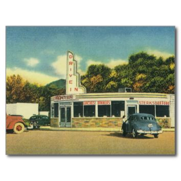 Vintage Restaurant, 50s Drive In Diner and Cars Postcard