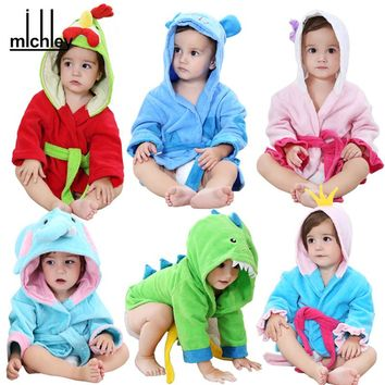 MICHLEY Soft Baby TowelS New Design GirlS Sprint Bathrobes Infant Cartoon Cotton Towel Kids Beach Swimwear Newborn Boy Robes QWK