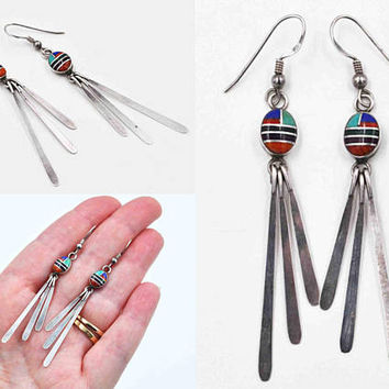 Vintage Sterling Silver Inlaid Pierced Dangle Earrings, Native American, Glass, Geometric, Inlay, Multi-Color, Long, Pretty! #c418