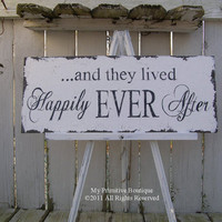 and they lived HAPPILY EVER AFTER Sign, Vintage Wedding Sign, Shabby Chic Wedding, 20 x 8