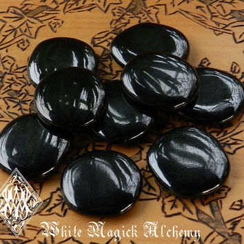 Jet Flat Scrying Palm Stones . Black Amber Fossilized Gemstone . Absorbs Negative Energy, Protection Against Psychic Attacks and Evil
