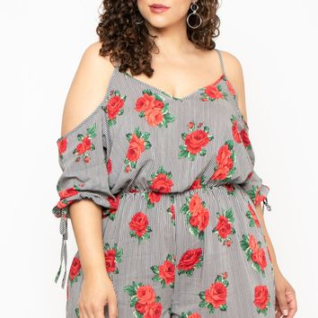 Plus Size Floral Stripe Cold Shoulder Romper - Black