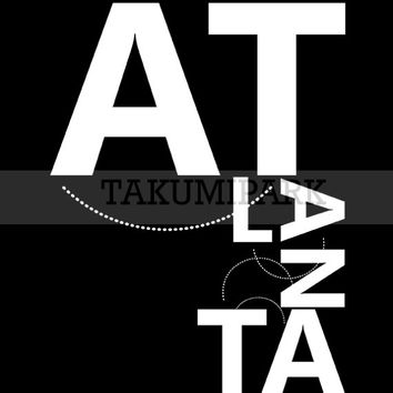 Atlanta Typography Poster Print, Black And White Home Decor, City Wall Art Print, Atlanta Wall Art , Apartment Decor, Gift Idea, Wordart