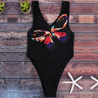 Sexy retro print mesh surface conjoined swimsuit bikini