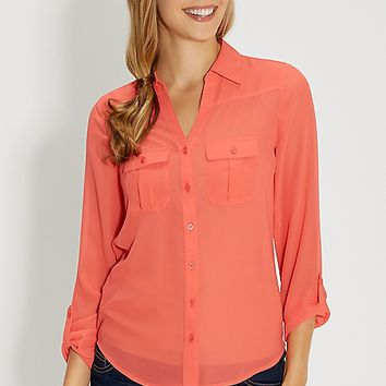 the perfect button down blouse with two pockets | maurices