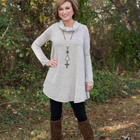 Just For Fun Cowl Dress/Tunic - Gray