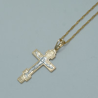 Two Tone Gold Plated Orthodox Christianity Orthodox Church Eternal Cross Pendant Necklace Jewelry Russia Greece Ukraine #011004