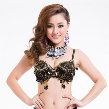 Pteris Belly Dance Beaded Crystal Sequin Bra Top Wine Bar Nightclub Rave DJ Dancewear 9 Colors SM6