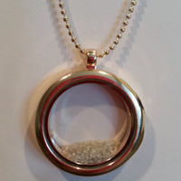 2 carat Gold Locket Necklace with White Diamonds, 27 inch long,  N-1244