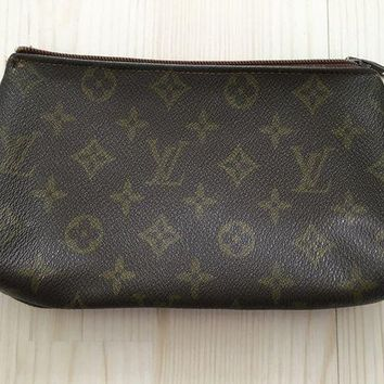 CREYDC0 Louis Vuitton canvas brown monogram pochette clutch