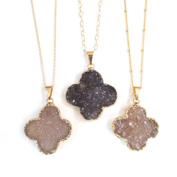 Gold Druzy Clover Necklace, Delicate Gold Necklace by Landon Lacey, 22k Gold Filled Delicate Gold Chain, Satellite Chain, Four Leaf Clover